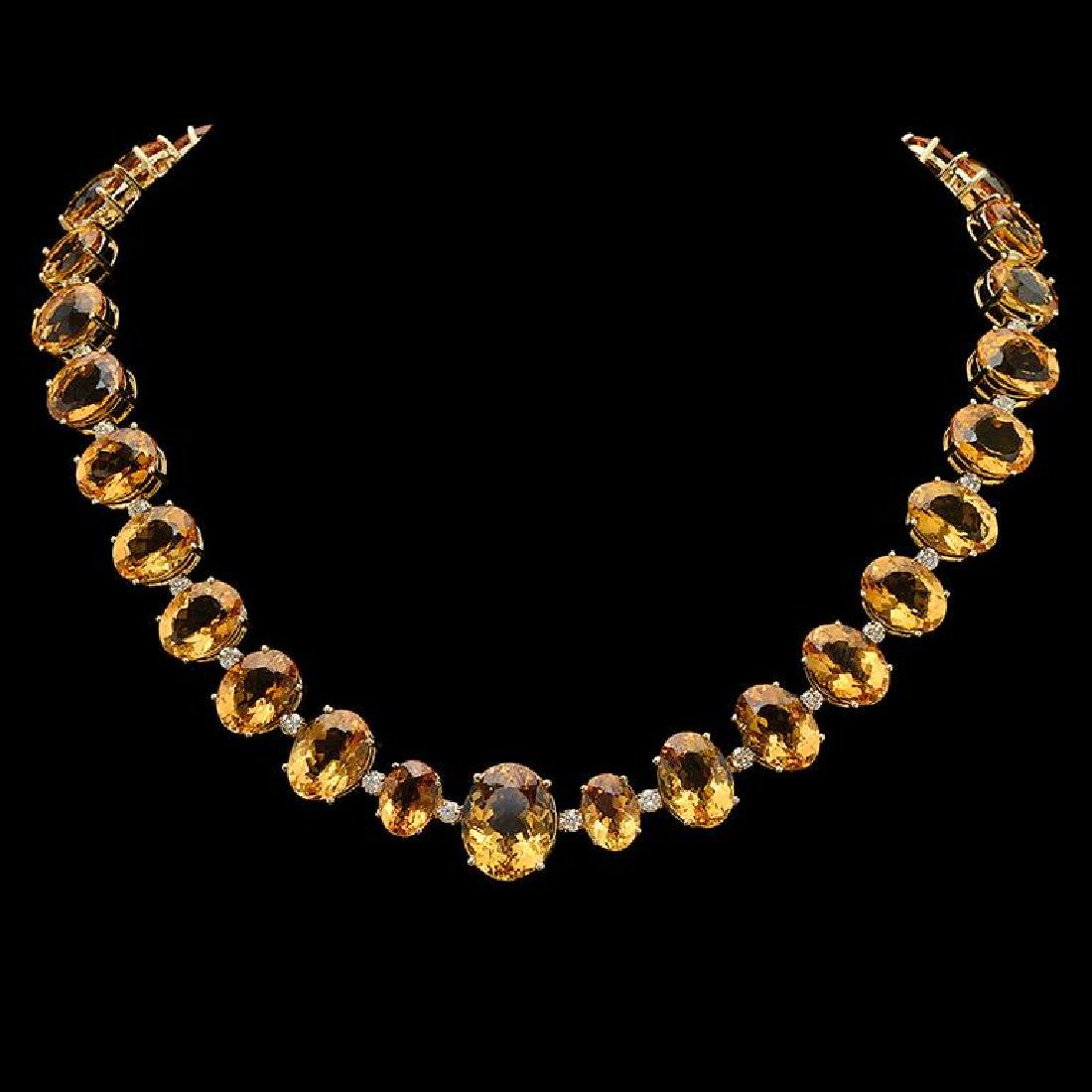 14K Gold 152.53ct Citrine & 4.10ct Diamond Necklace