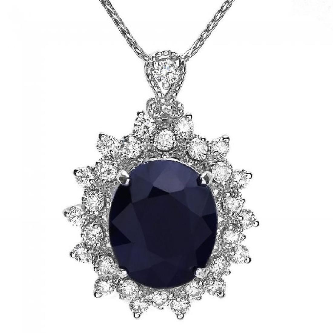 14k Gold 4.40ct Sapphire 0.85ct Diamond Pendant - 2