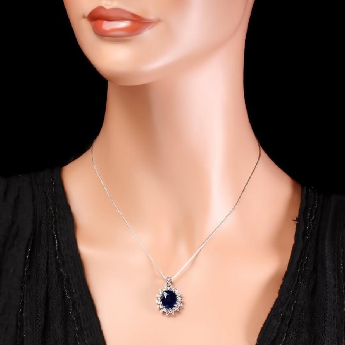 14k Gold 4.40ct Sapphire 0.85ct Diamond Pendant - 5