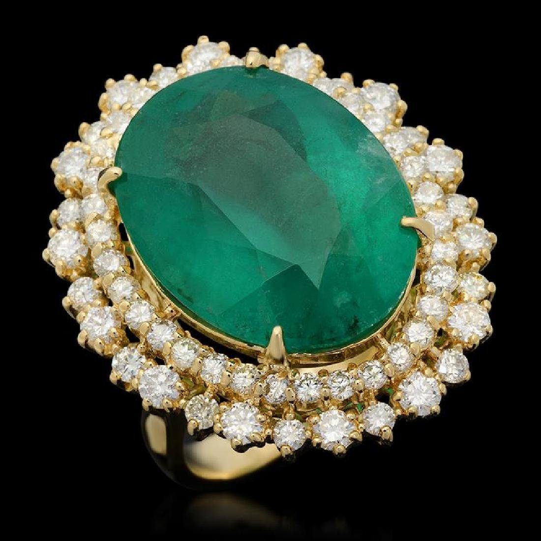 14K Gold 17.93ct Emerald 2.10ct Diamond Ring
