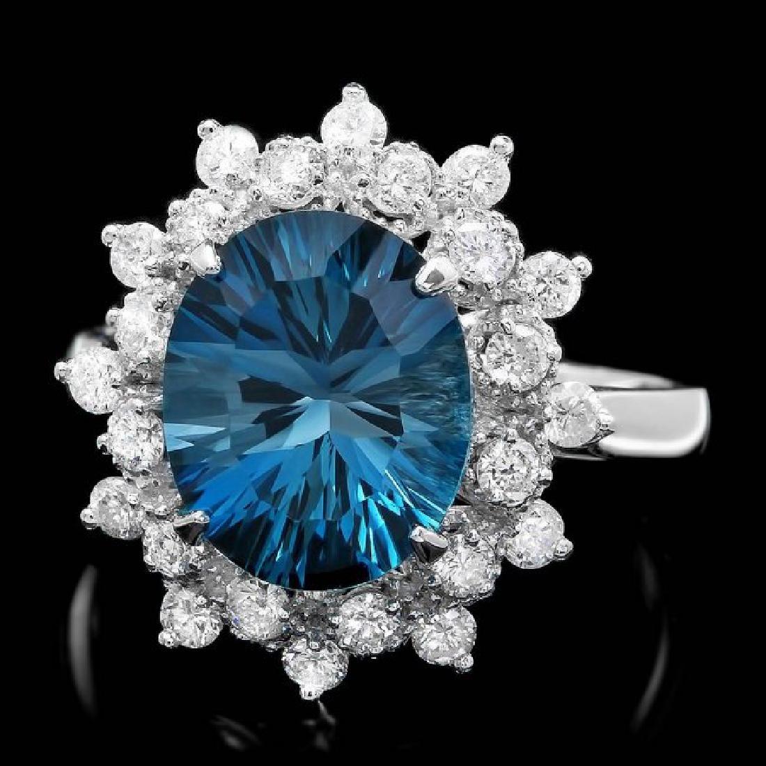 14k White Gold 4.00ct Topaz 0.70ct Diamond Ring