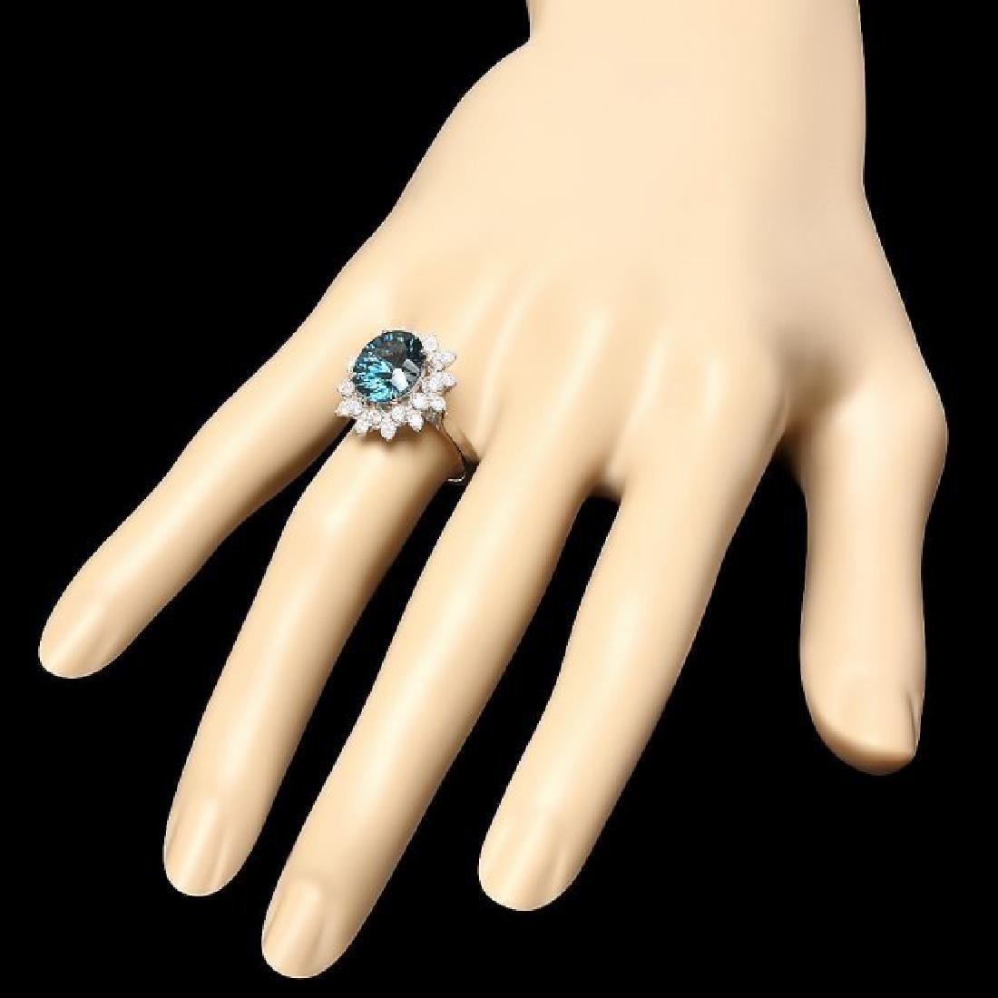 14k White Gold 4.00ct Topaz 0.70ct Diamond Ring - 3