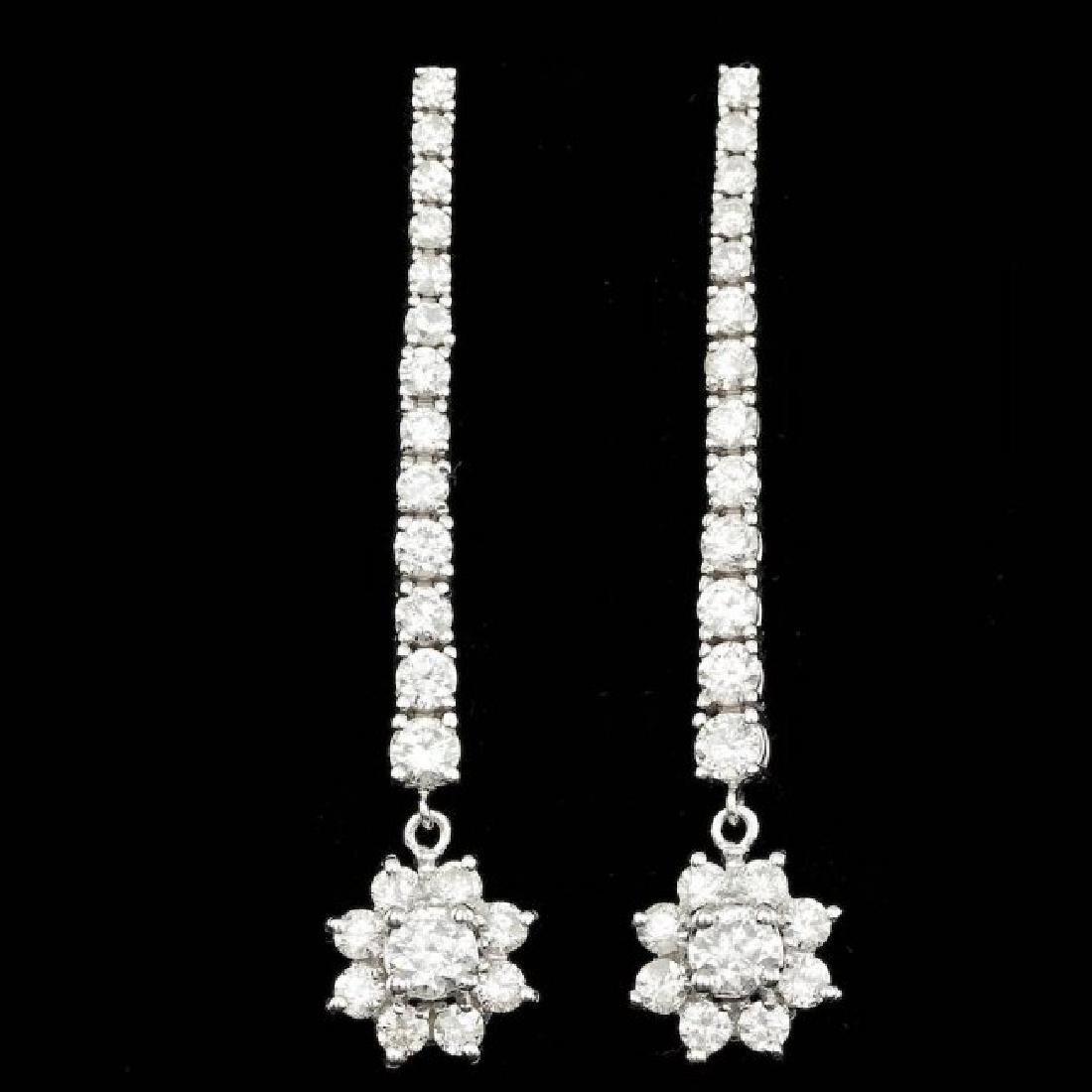 14k White Gold 3.65ct Diamond Earrings