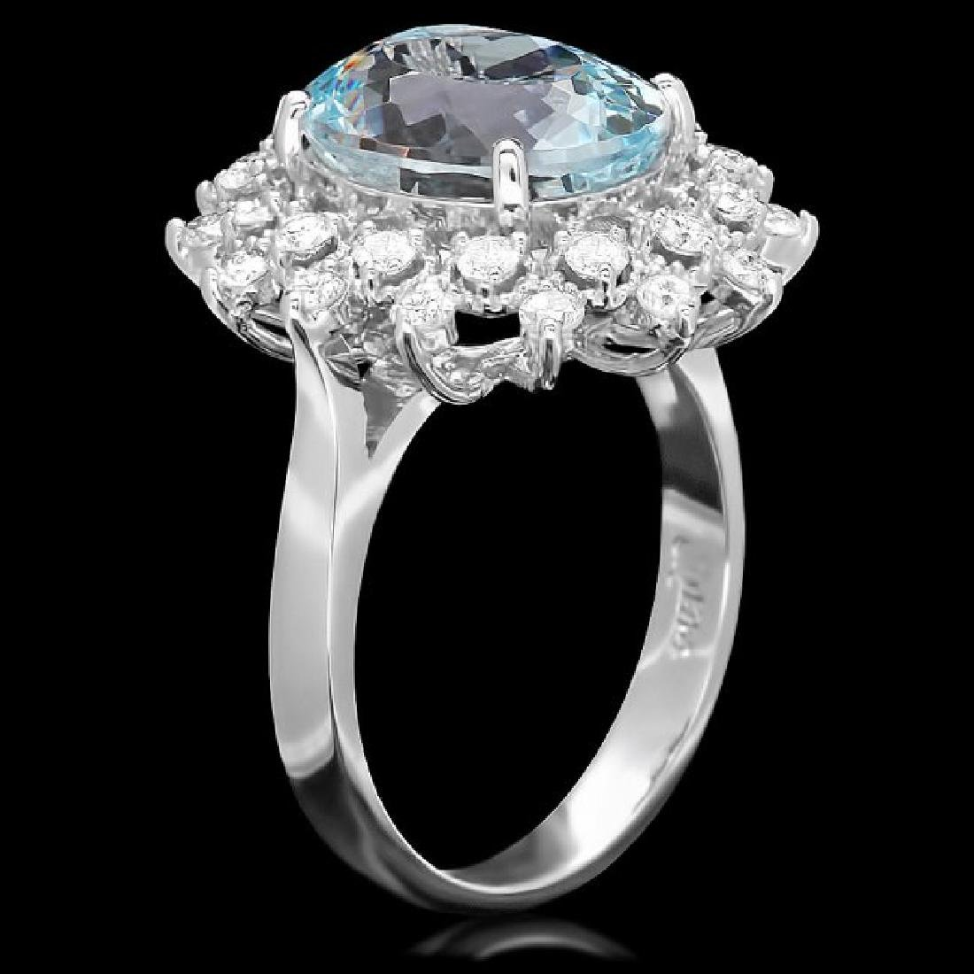 14k Gold 4.92ct Aquamarine 0.79ct Diamond Ring - 2