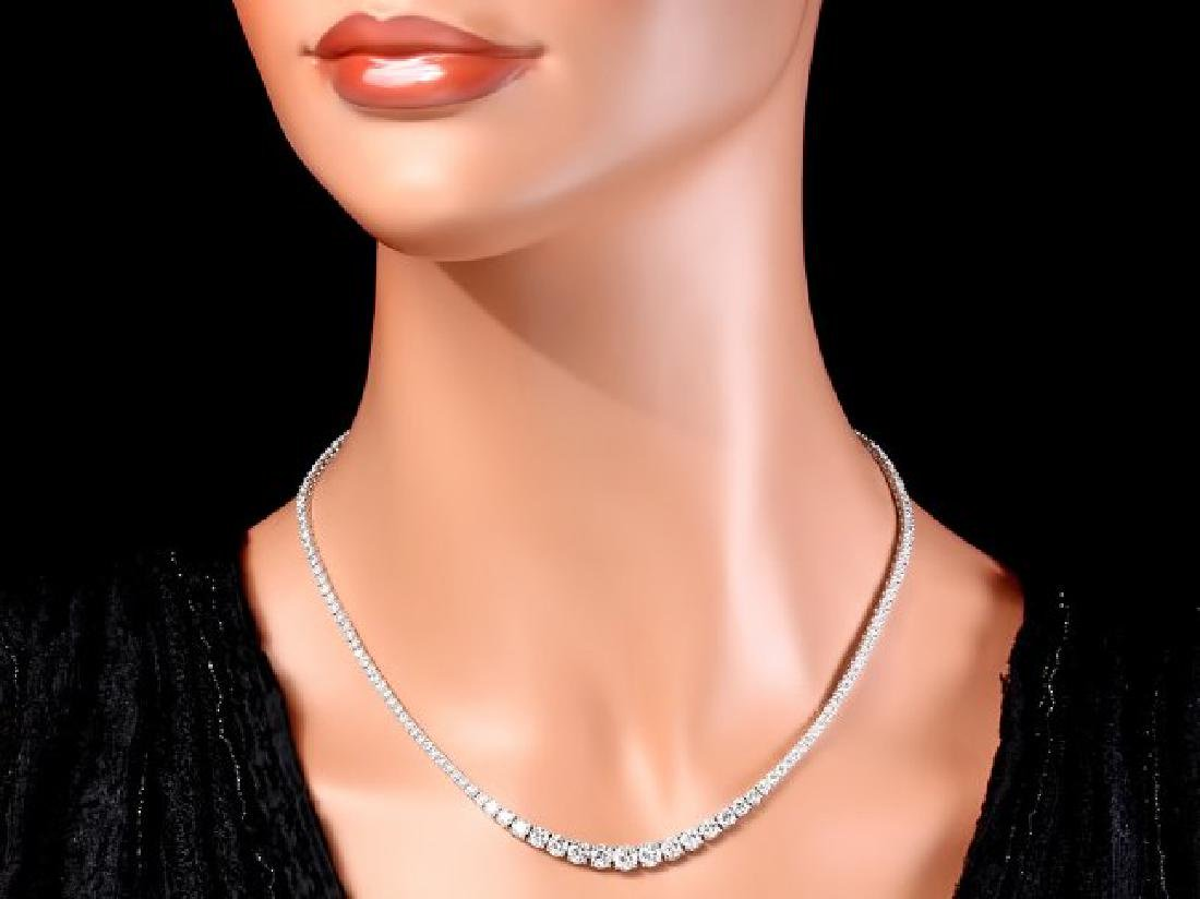 18k White Gold 11.50ct Diamond Necklace - 4