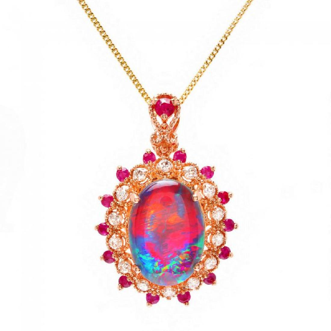 14k Rose Gold 3.50ct Opal 0.35ct Diamond Pendant - 2