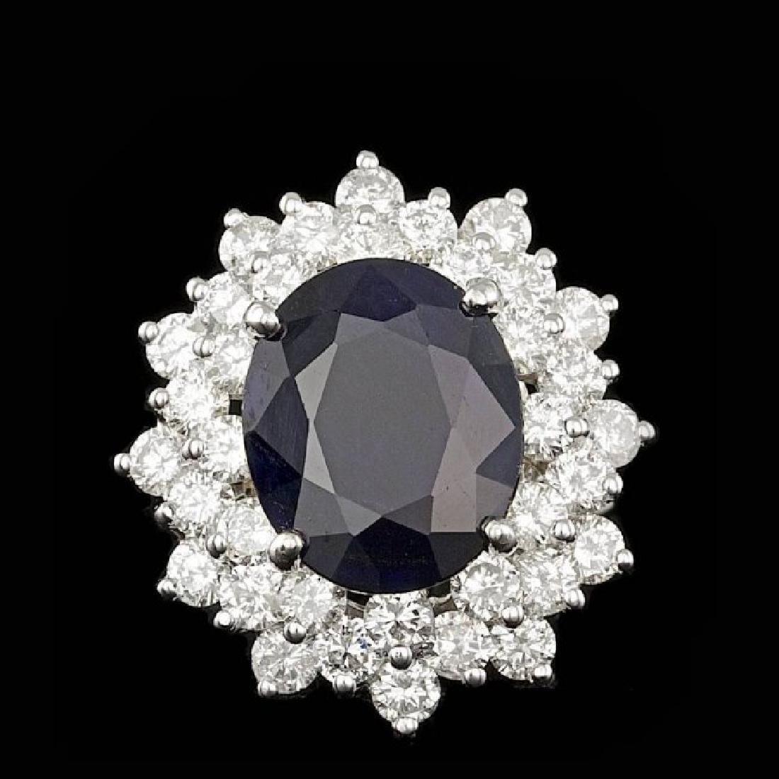 14k Gold 7.25ct Sapphire 2.60ct Diamond Ring