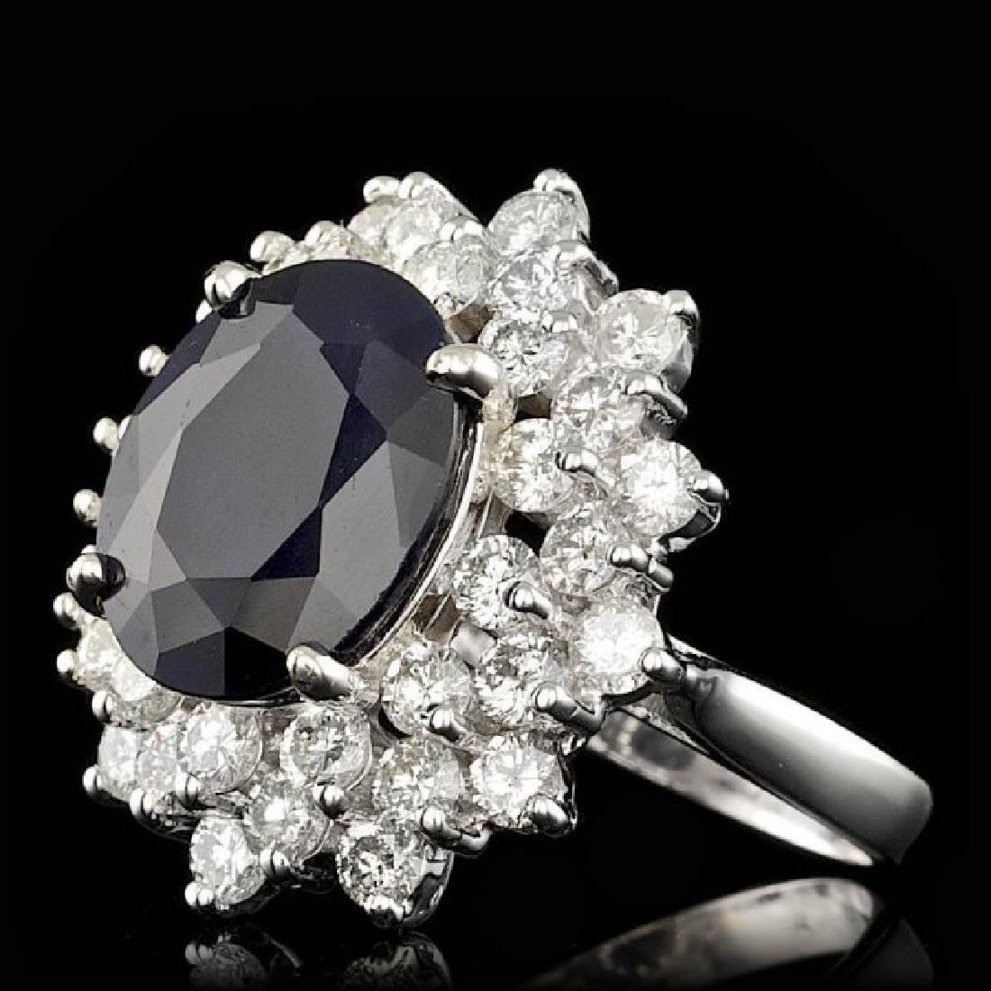 14k Gold 7.25ct Sapphire 2.60ct Diamond Ring - 2