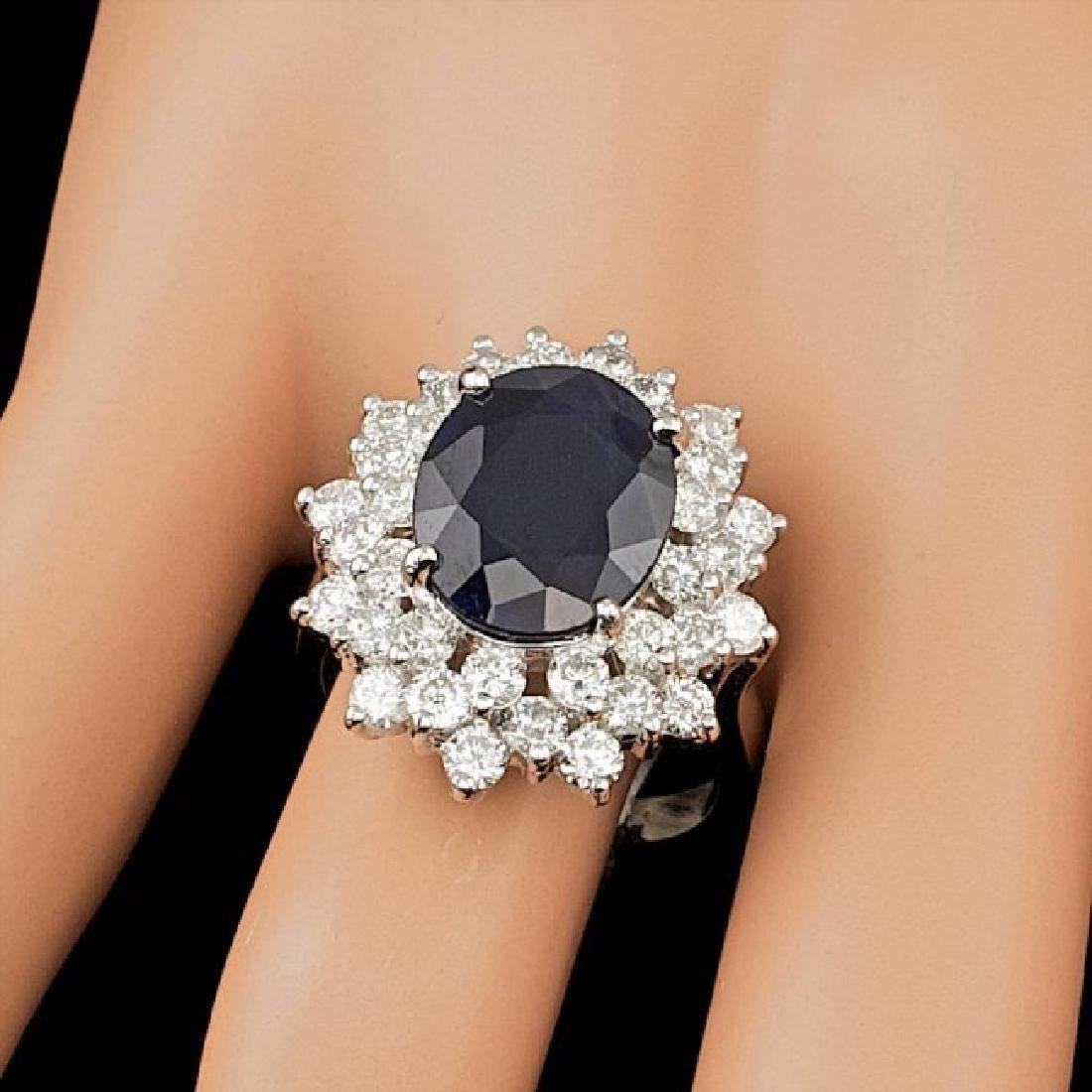 14k Gold 7.25ct Sapphire 2.60ct Diamond Ring - 3