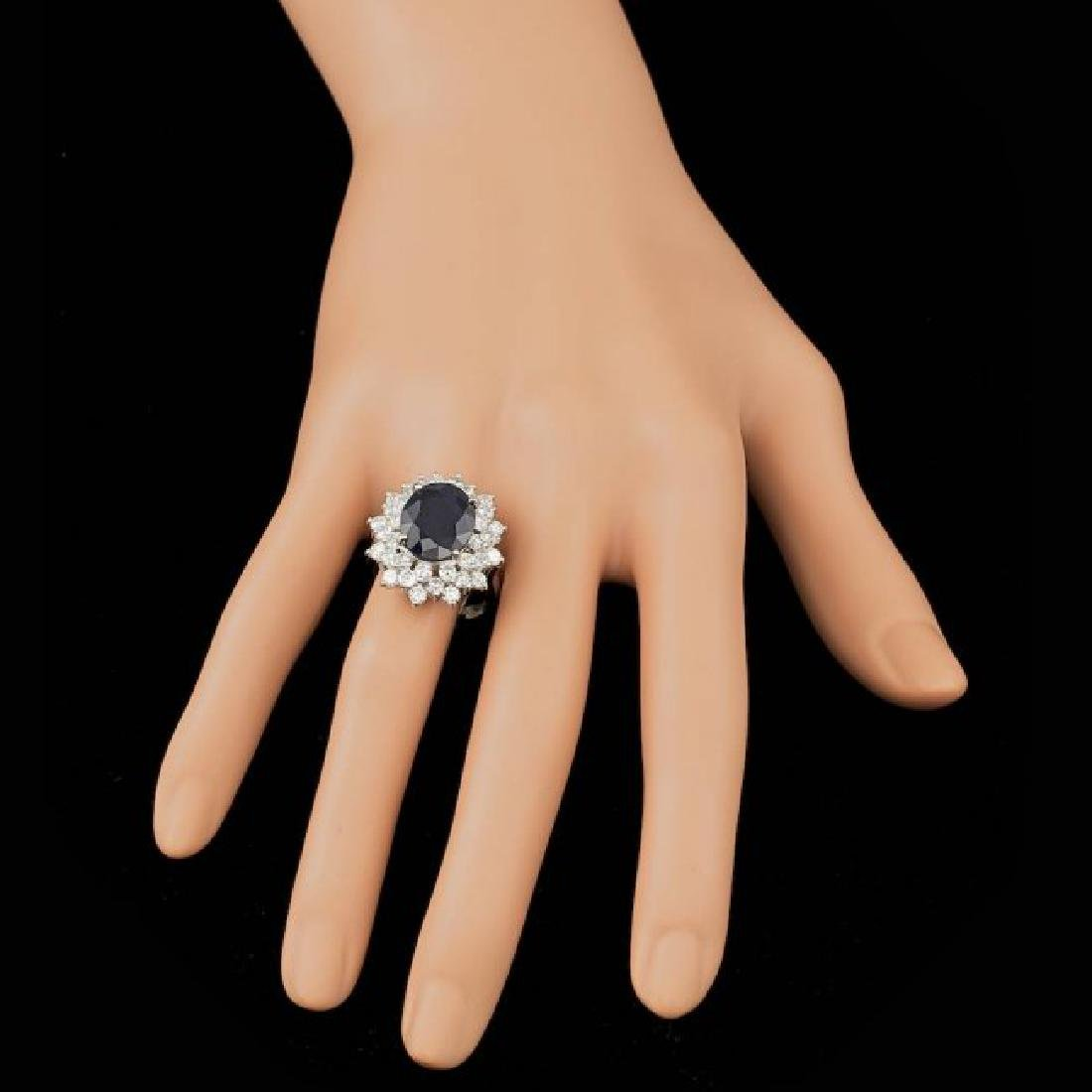 14k Gold 7.25ct Sapphire 2.60ct Diamond Ring - 4