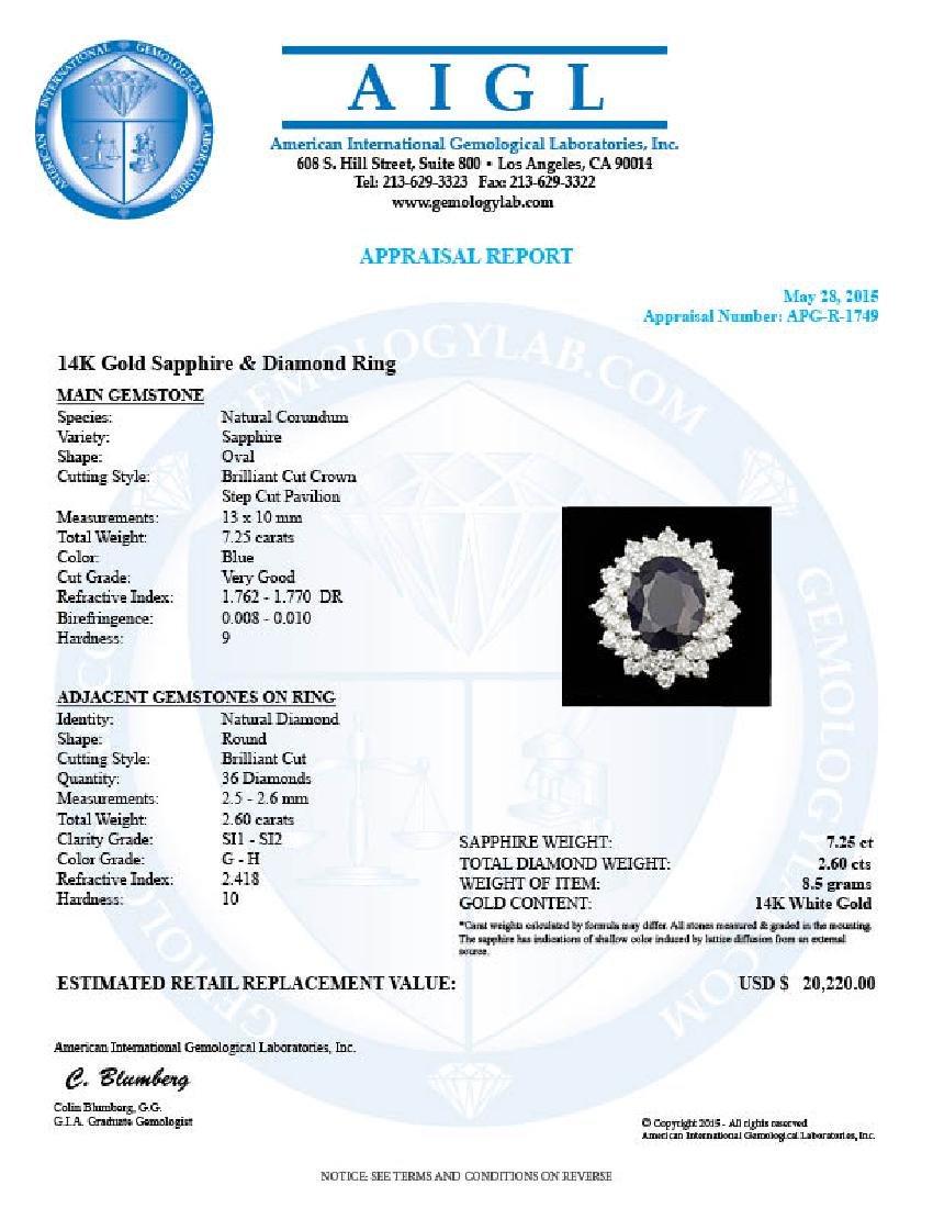 14k Gold 7.25ct Sapphire 2.60ct Diamond Ring - 5