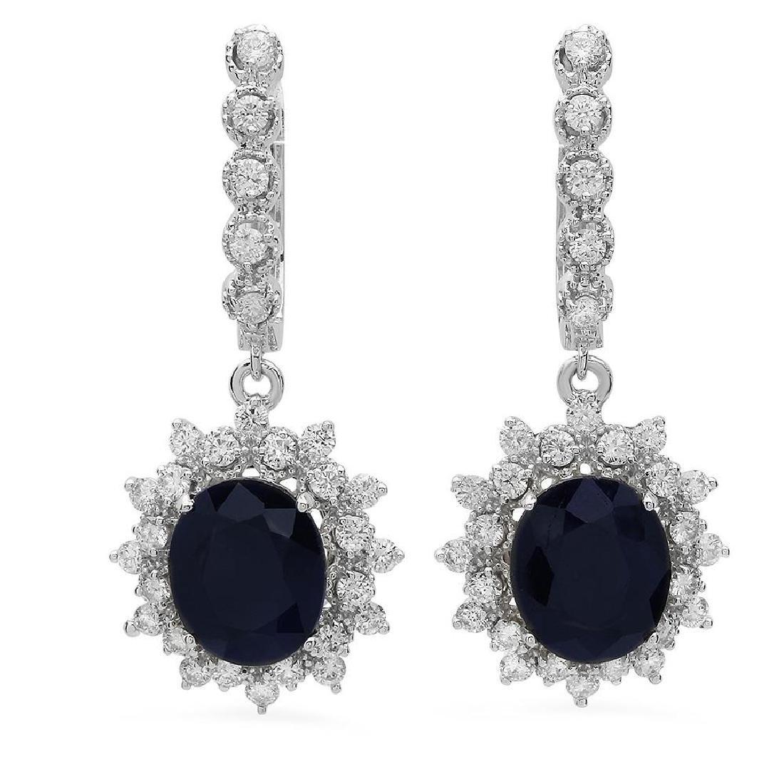 14K Gold 7.97ct Sapphire 1.63ct Diamond Earrings