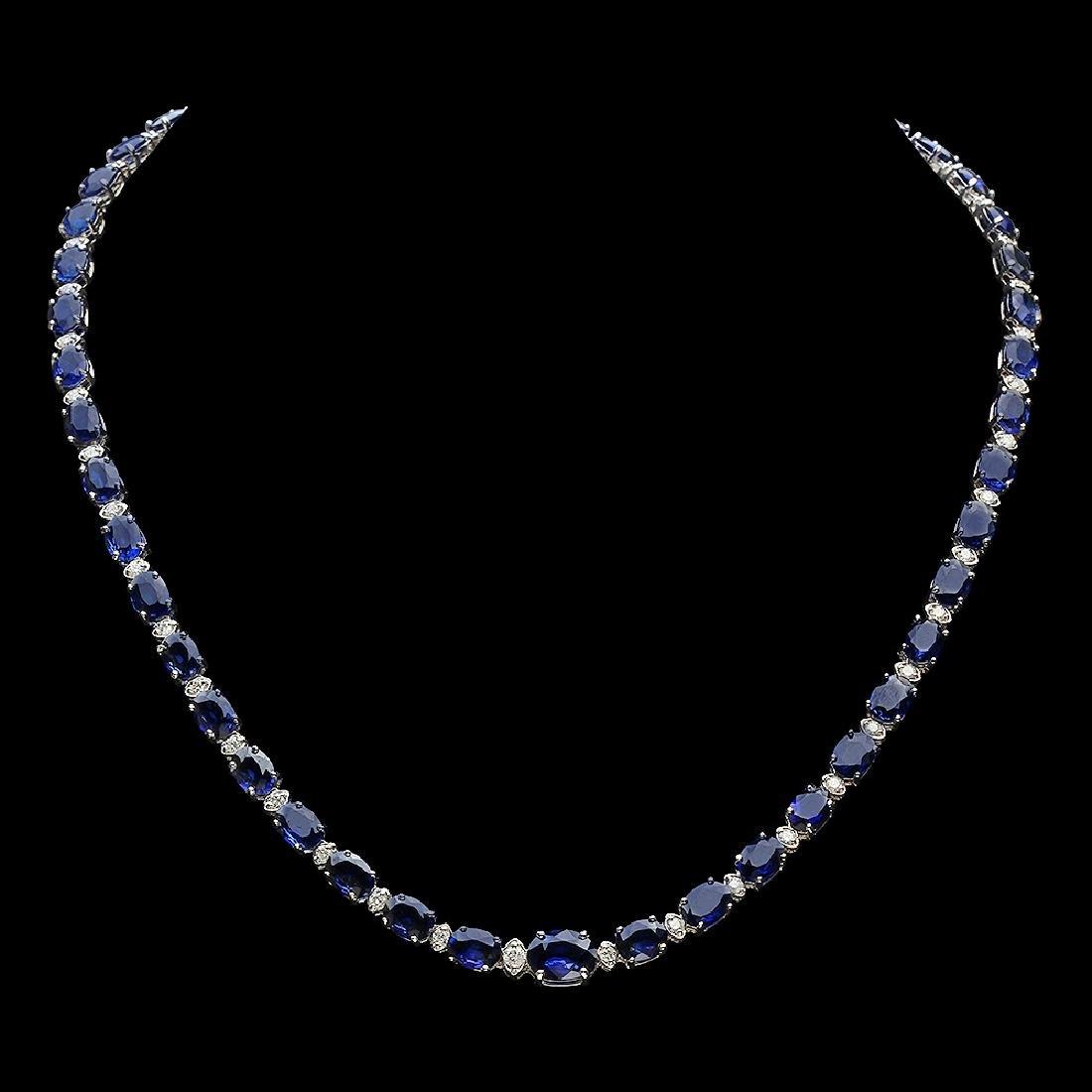 14K Gold 38.53ct Sapphire 1.70ct Diamond Necklace