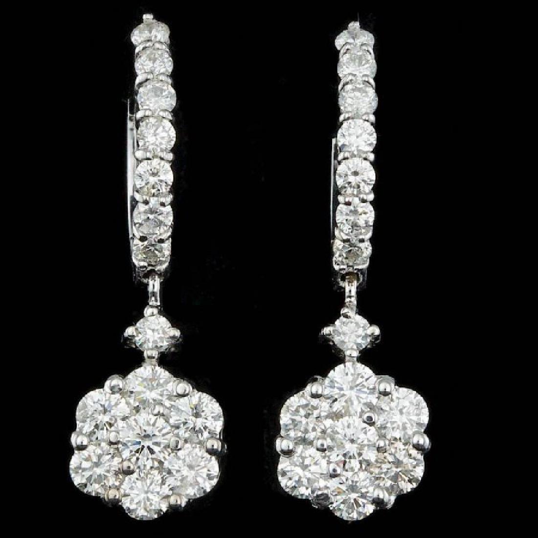 14k White Gold 2.00ct Diamond Earrings