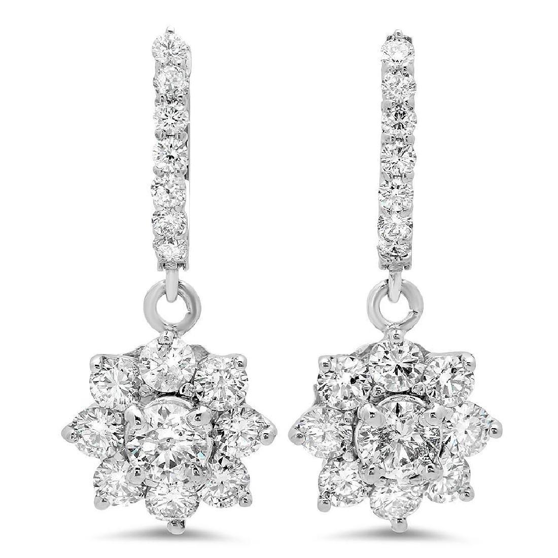 14K Gold 3.41cts Diamond Earrings
