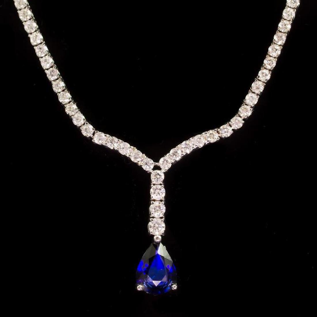 18k Gold 1.61ct Sapphire 4.20ct Diamond Necklace