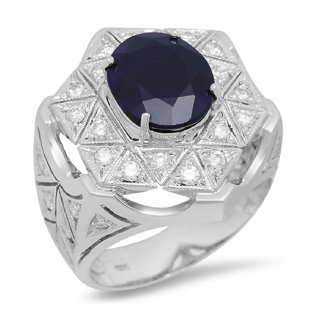14K Gold 5.01ct Sapphire 1.06cts Diamond Ring