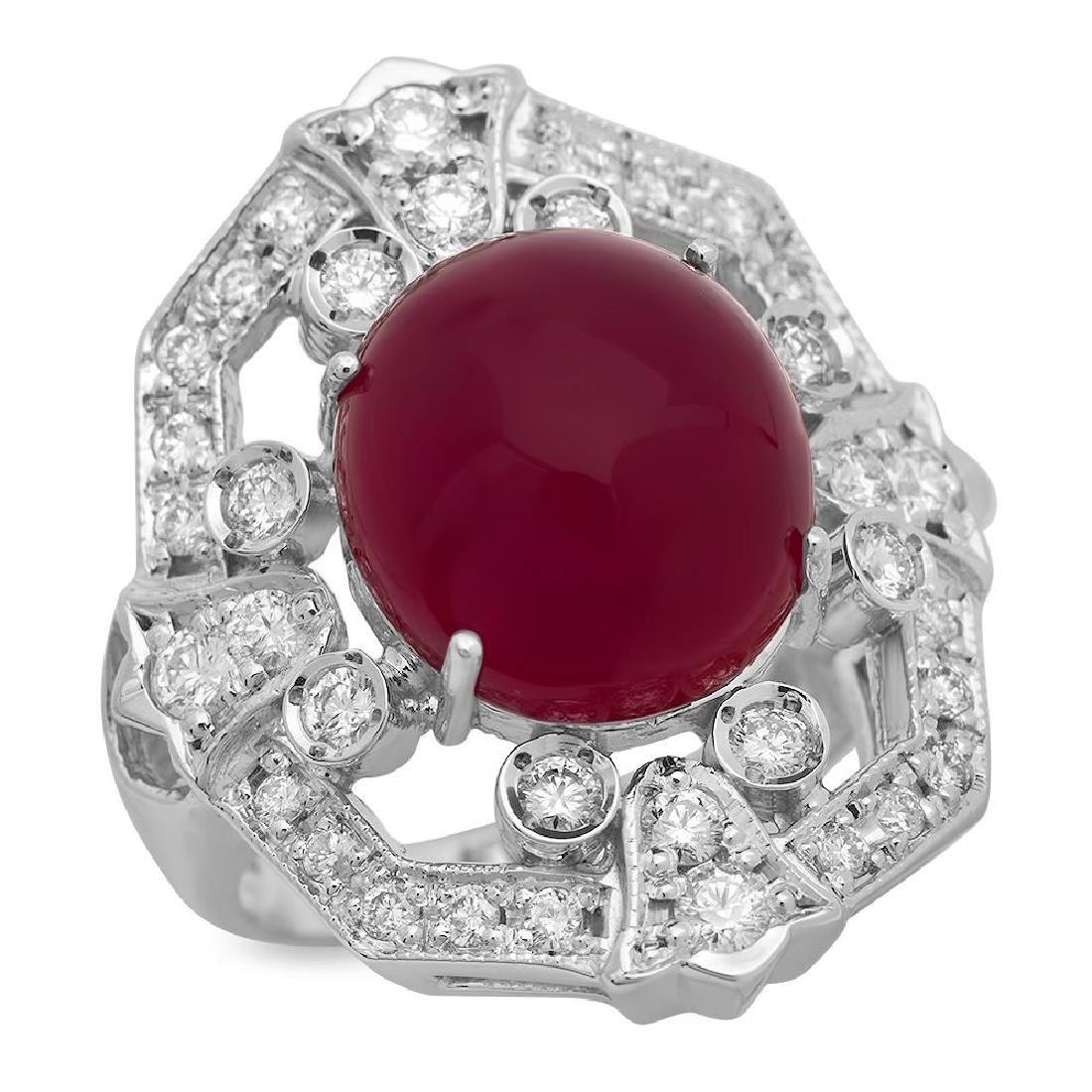 14K Gold 14.84ct Ruby 1.12ct Diamond Ring