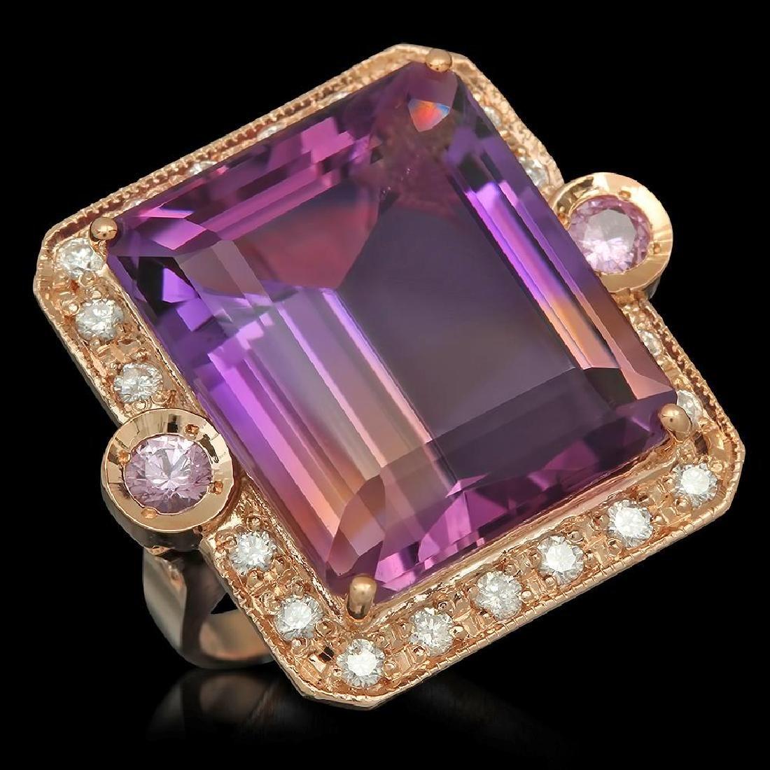 14K Gold 25.07ct Ametrine 0.40ct Sapphire 1.00ct