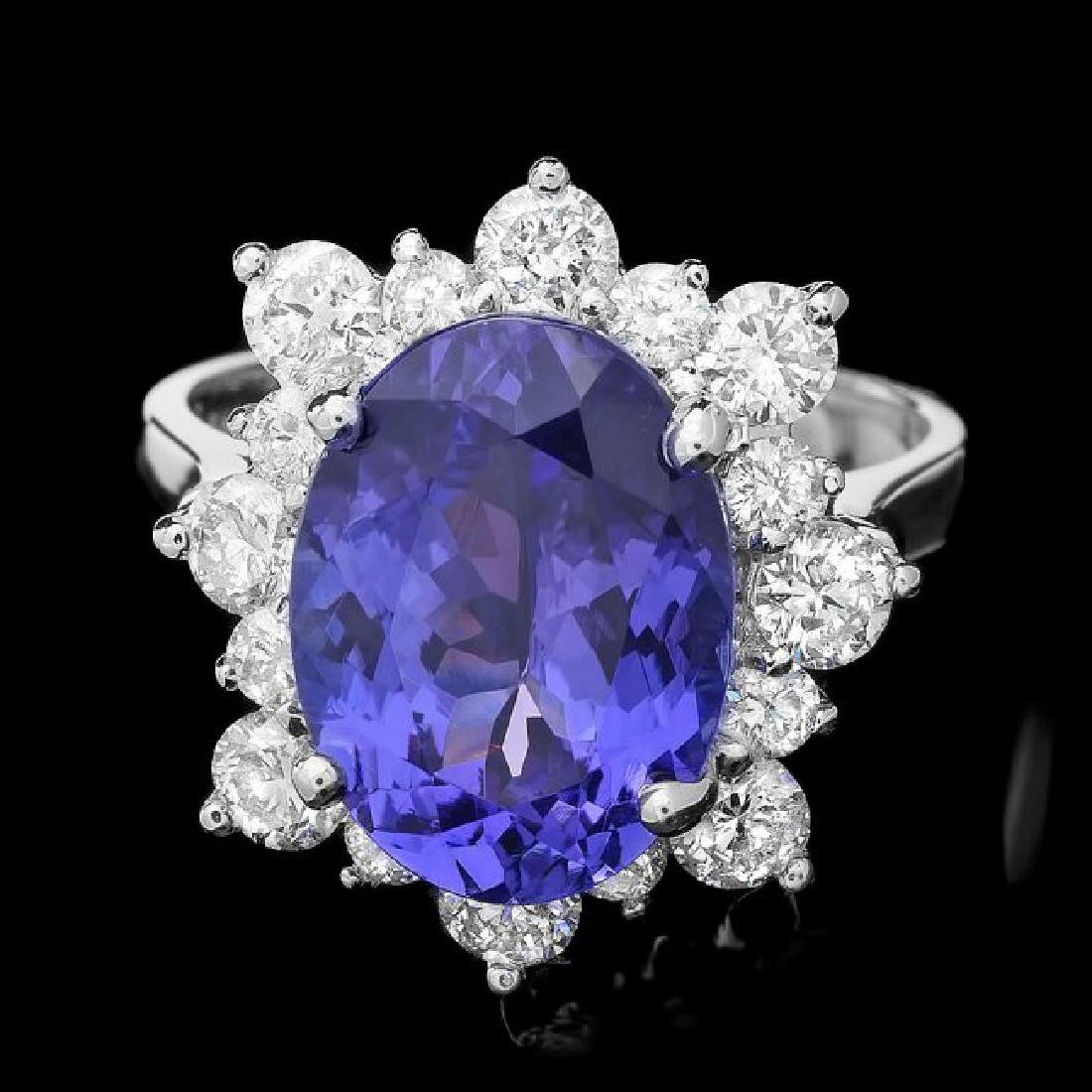 14k Gold 5.50ct Tanzanite 1.40ct Diamond Ring