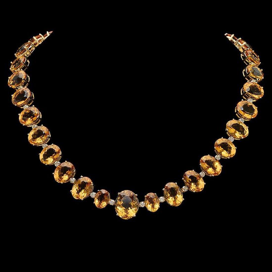 14K Gold 152.53ct Citrine & 4.10ct Diamond Necklace