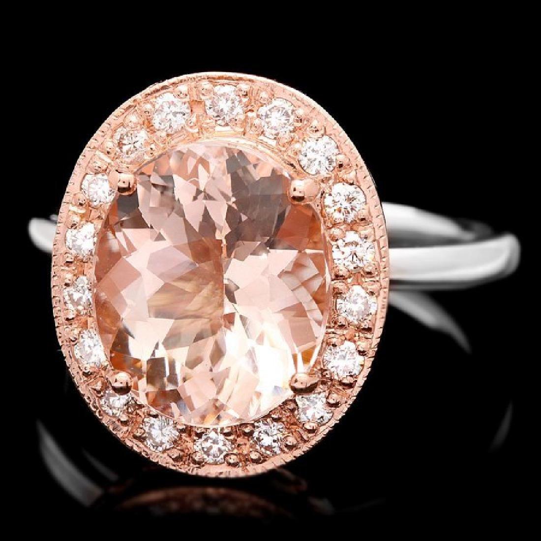 14k Gold 4ct Morganite .40ct Diamond Ring