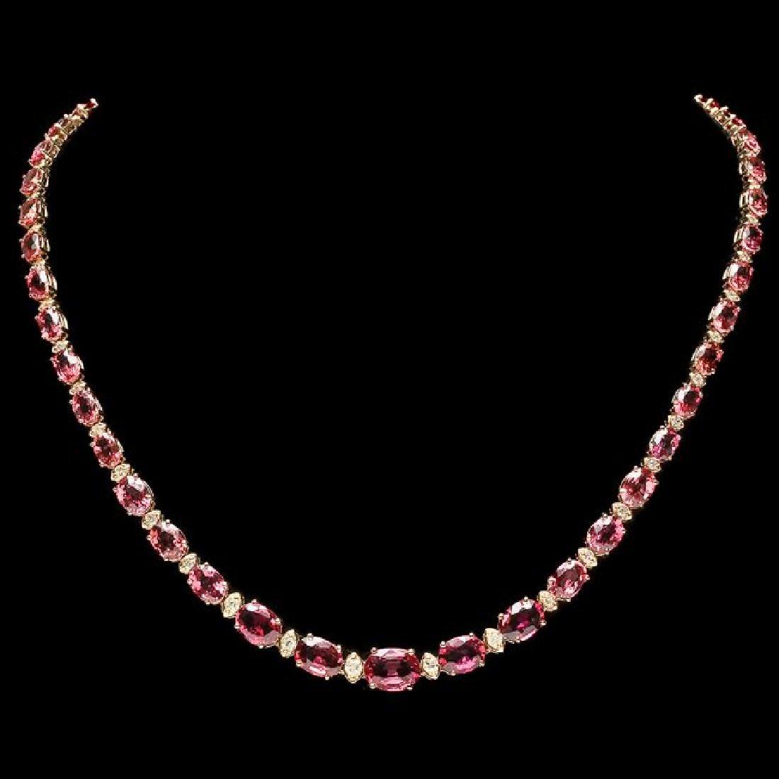 14k 29.00ct Tourmaline 1.25ct Diamond Necklace