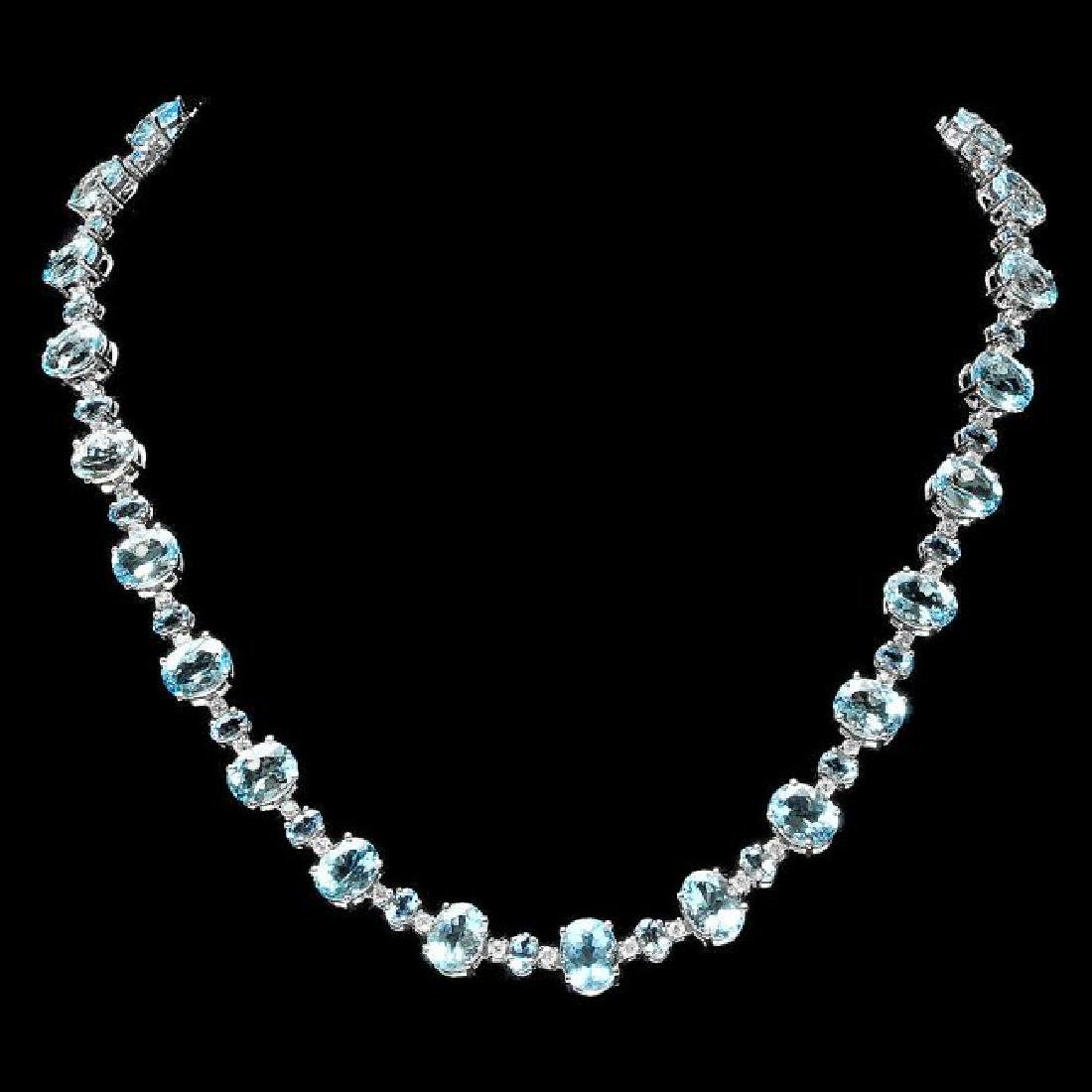 14k Gold 49ct Aquamarine 2.40ct Diamond Necklace