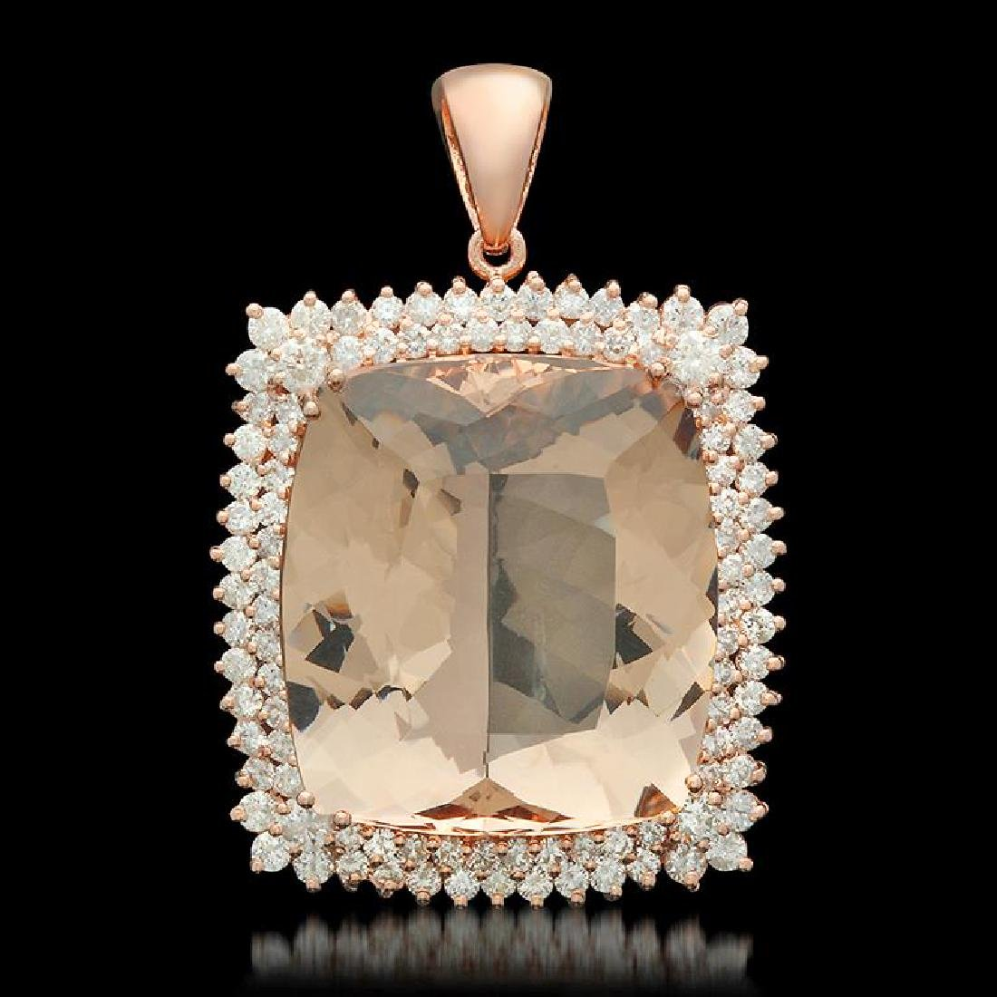 14K Gold 57.18ct Morganite 4.17ct Diamond Pendant