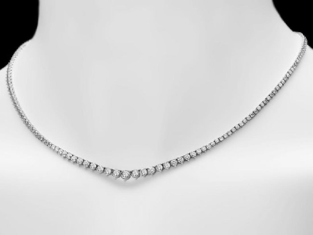 18k White Gold 7.00ct Diamond Necklace - 4