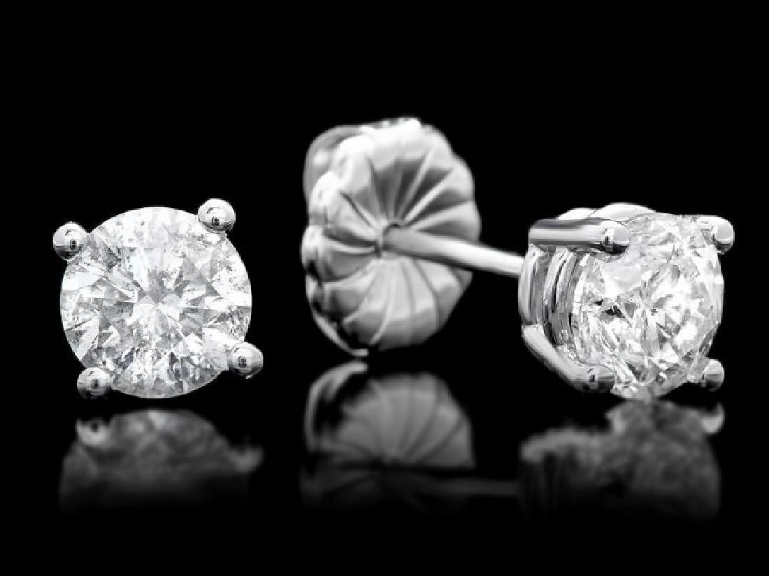 14k White Gold 1.50ct Diamond Earrings - 2