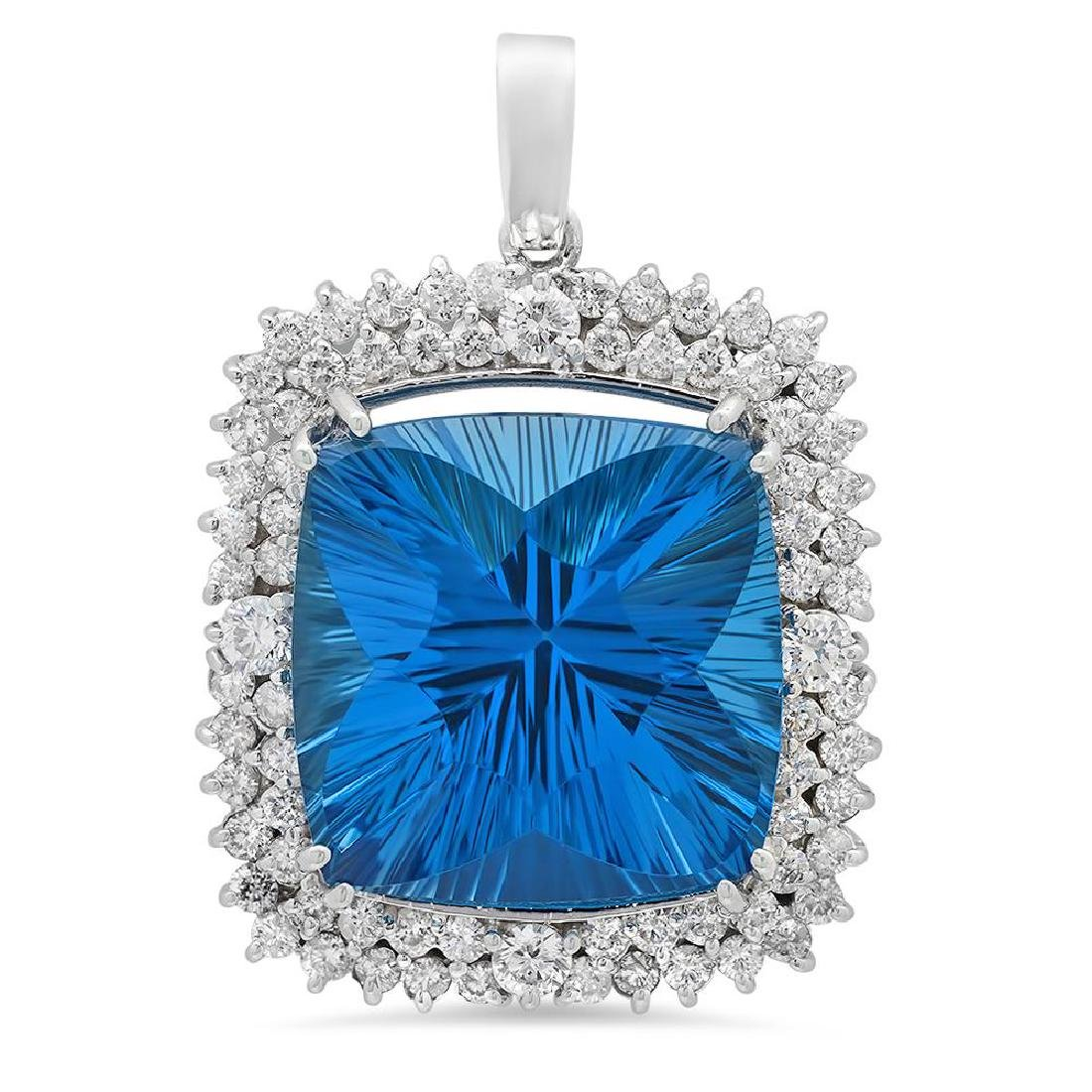 14K Gold 41.40ct Topaz 3.05ct Diamond Pendant