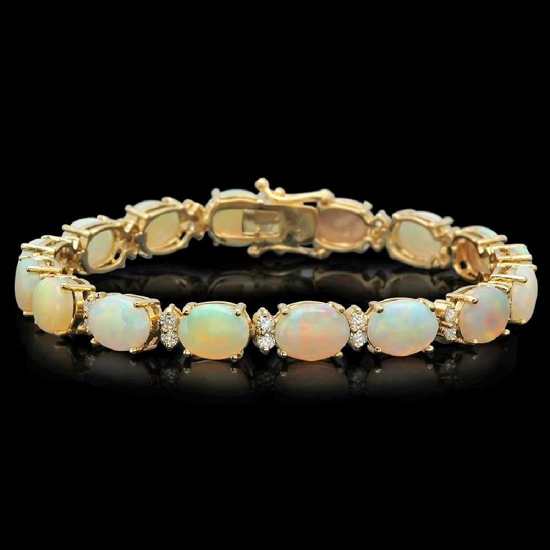 14K Gold 16.97ct Opal 1.45ct Diamond Bracelet