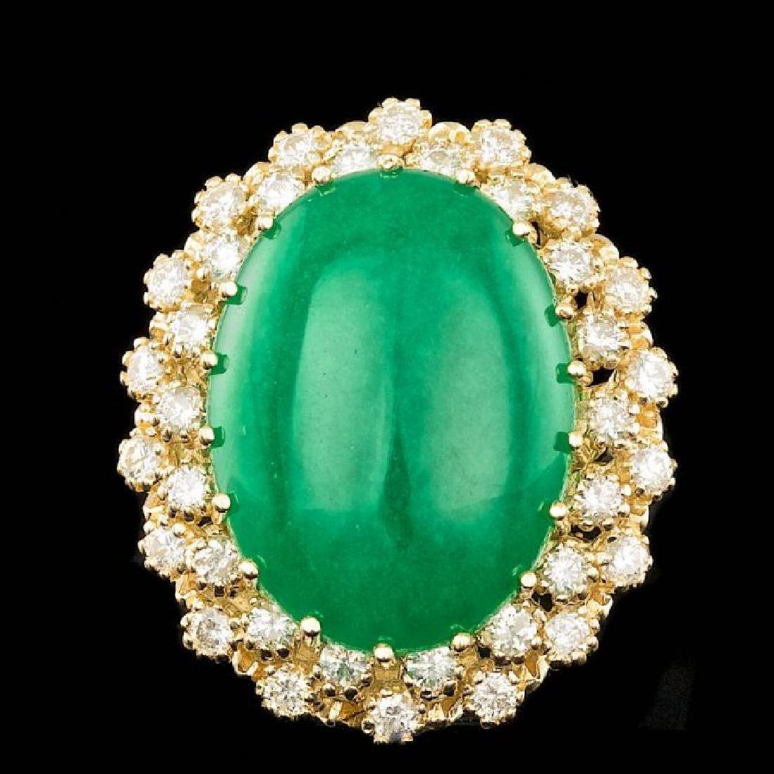 14k Yellow Gold 13.50ct Jade 1.30ct Diamond Ring