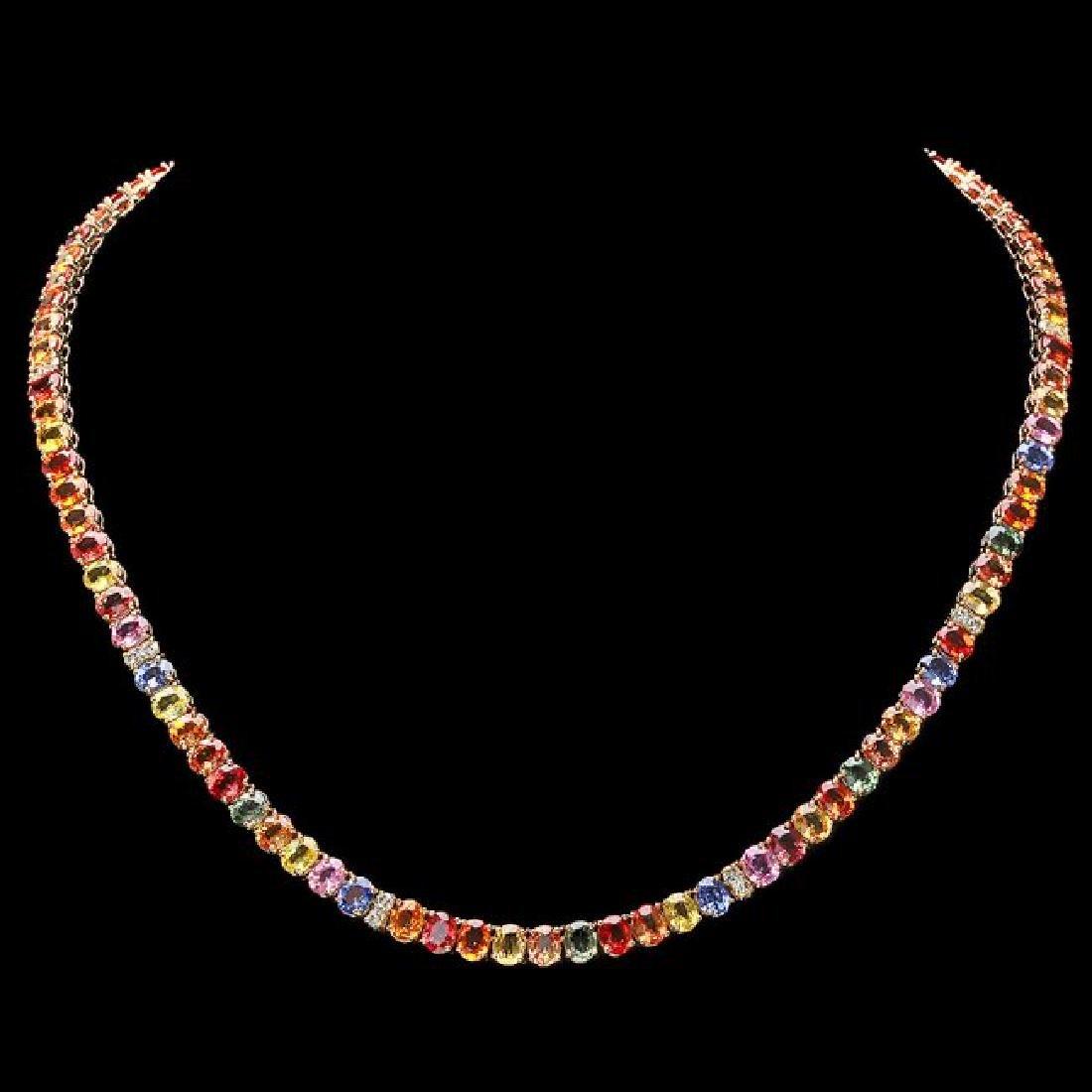14k Gold 44.00ct Sapphire 1.00ct Diamond Necklace