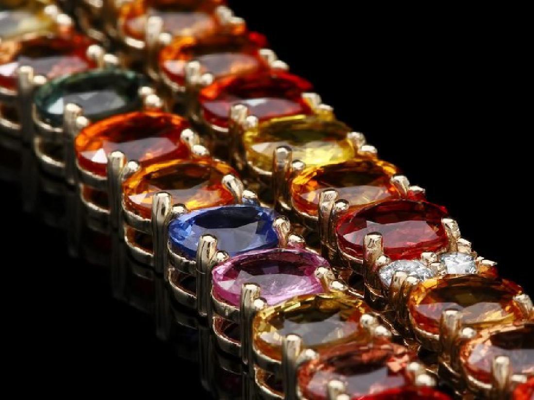 14k Gold 44.00ct Sapphire 1.00ct Diamond Necklace - 2