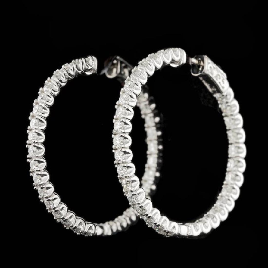 14k White Gold 4.50ct Diamond Earrings - 2