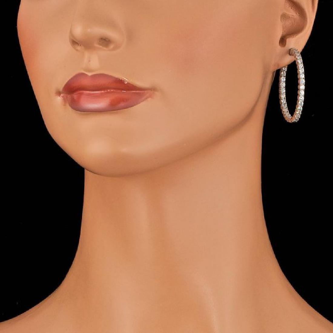 14k White Gold 4.50ct Diamond Earrings - 3