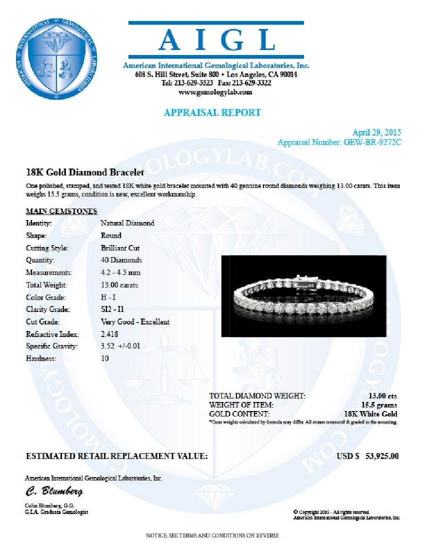 18k White Gold 13.00ct Diamond Tennis Bracelet - 6