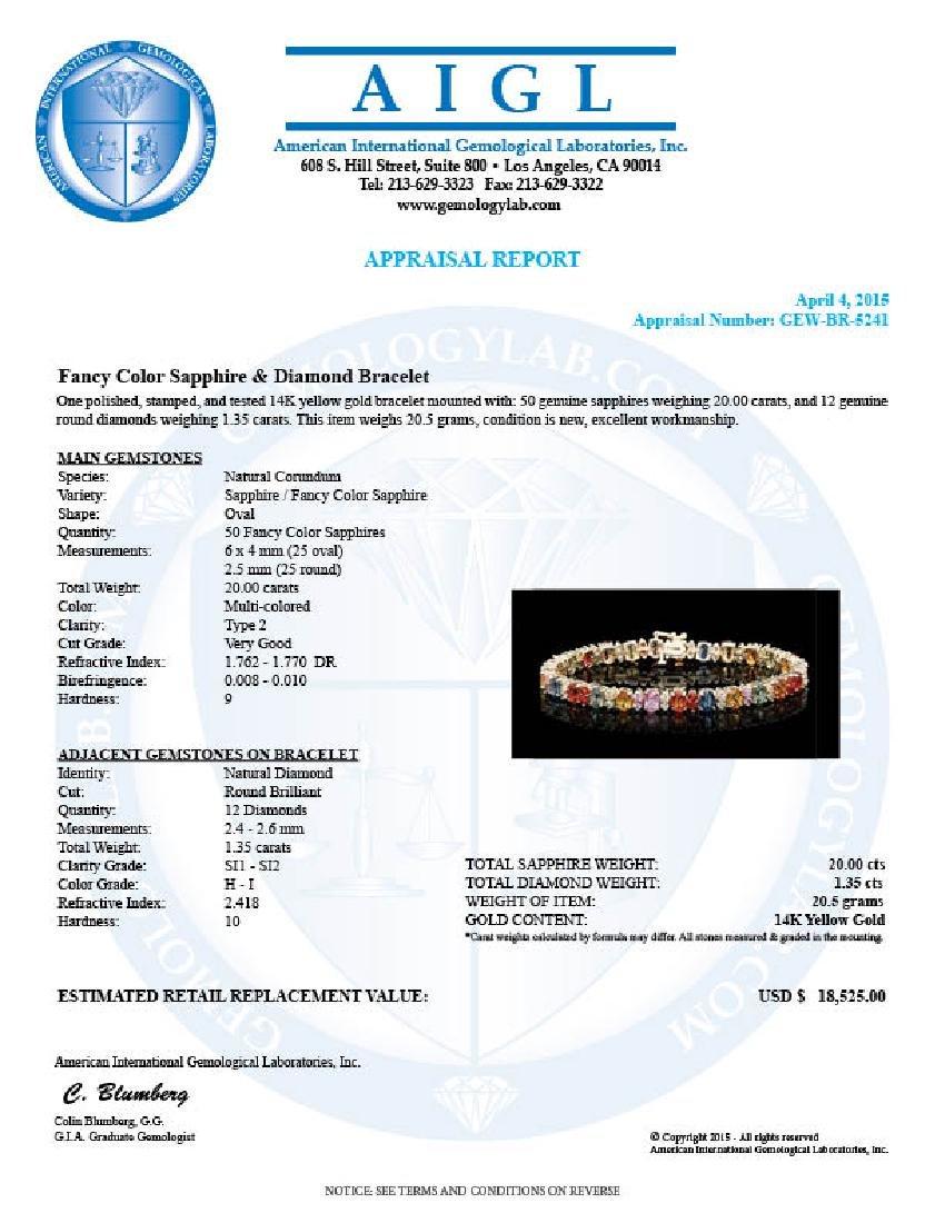 14k Gold 20ct Sapphire 1.35ct Diamond Bracelet - 6