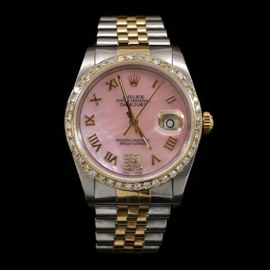 Rolex DateJust Two-Tone 36mm Custom Diamond Bezel Men's
