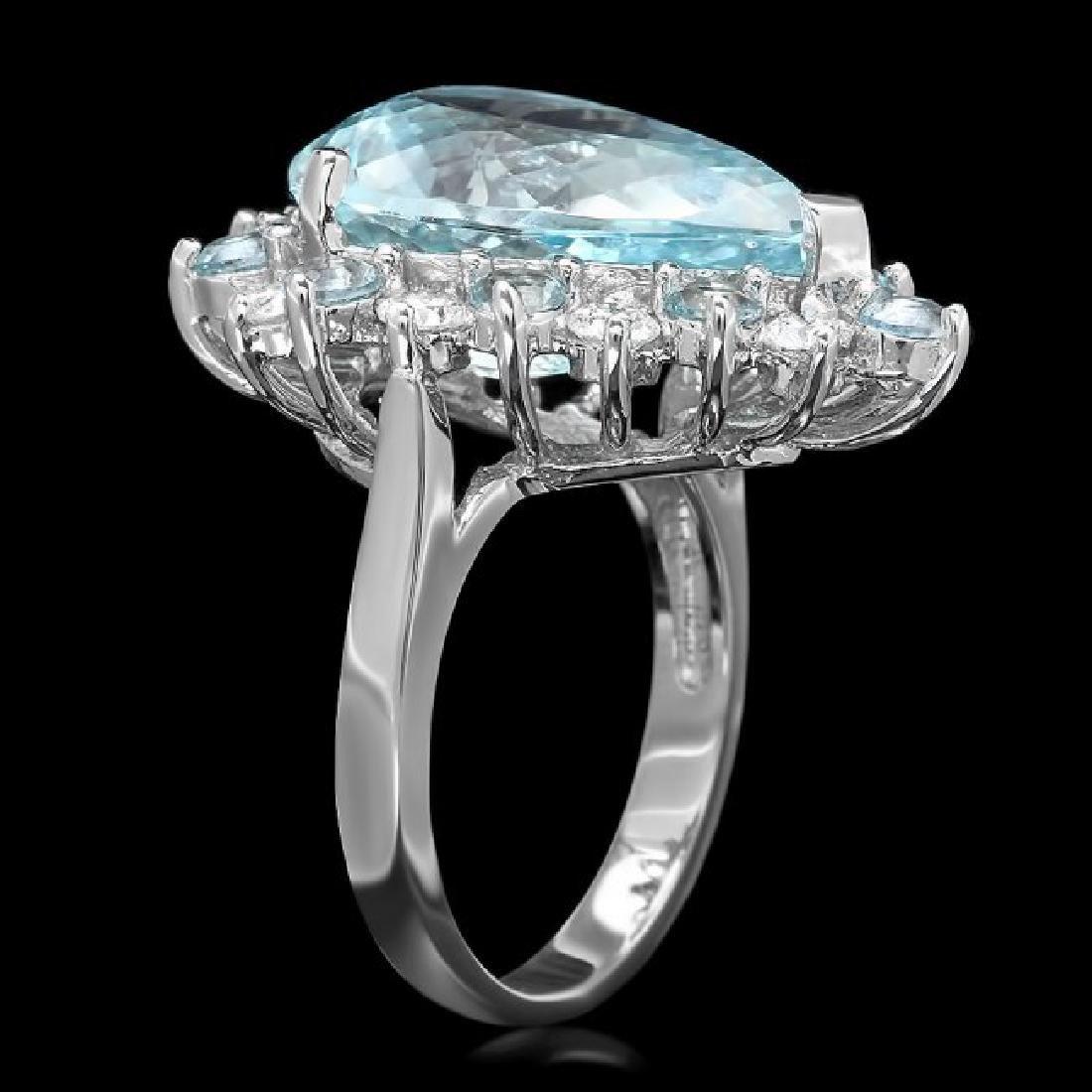14k Gold 12ct Aquamarine 0.95ct Diamond Ring - 2
