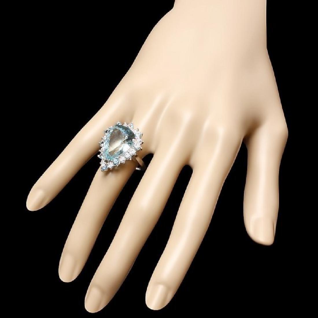 14k Gold 12ct Aquamarine 0.95ct Diamond Ring - 3
