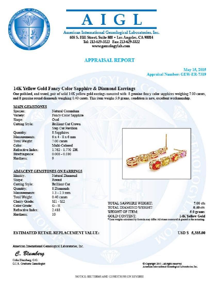 14k Gold 7ct Sapphire 0.40ct Diamond Earrings - 5