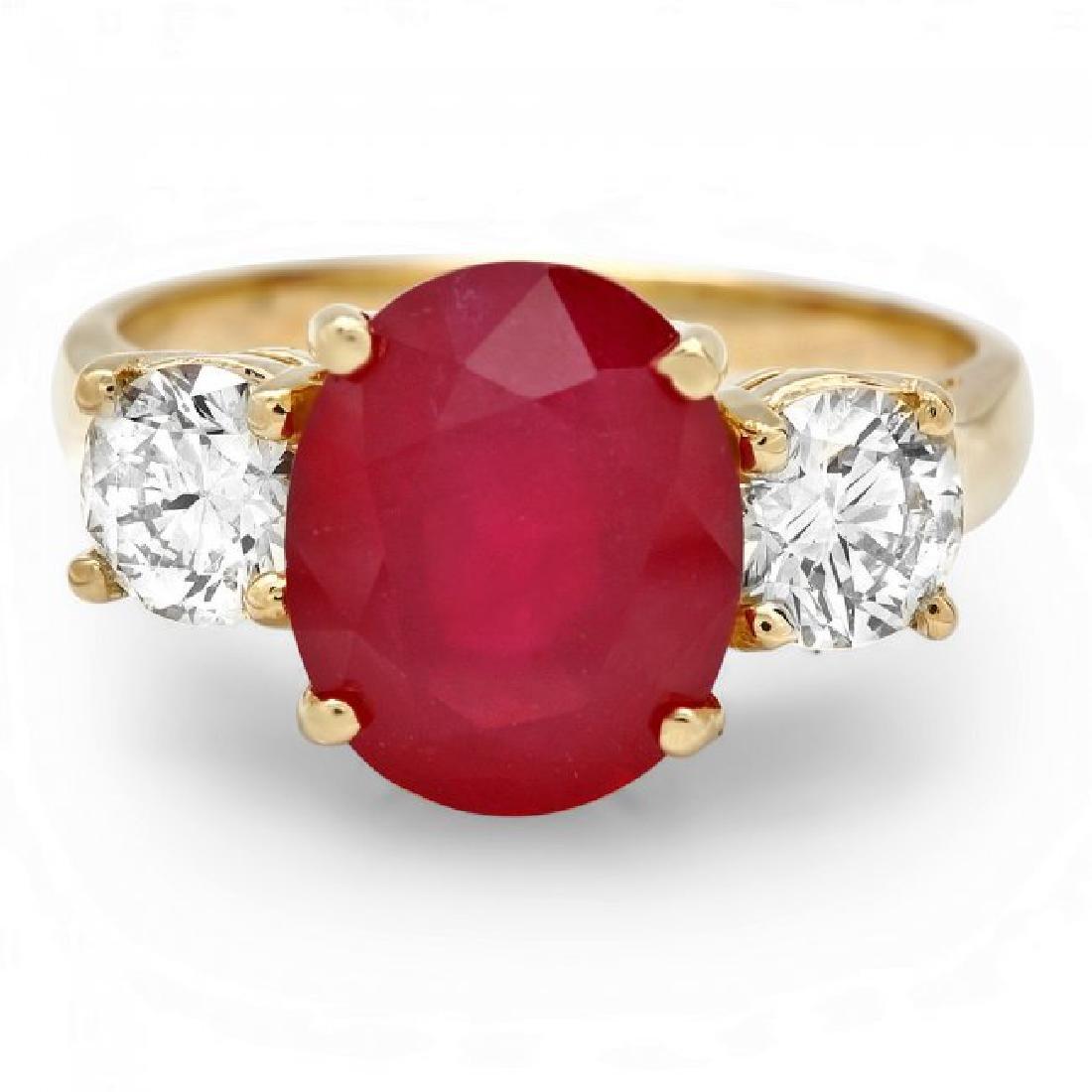 14k Yellow Gold 5.00ct Ruby 1.10ct Diamond Ring - 2