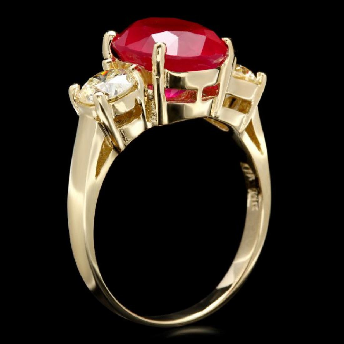 14k Yellow Gold 5.00ct Ruby 1.10ct Diamond Ring - 3