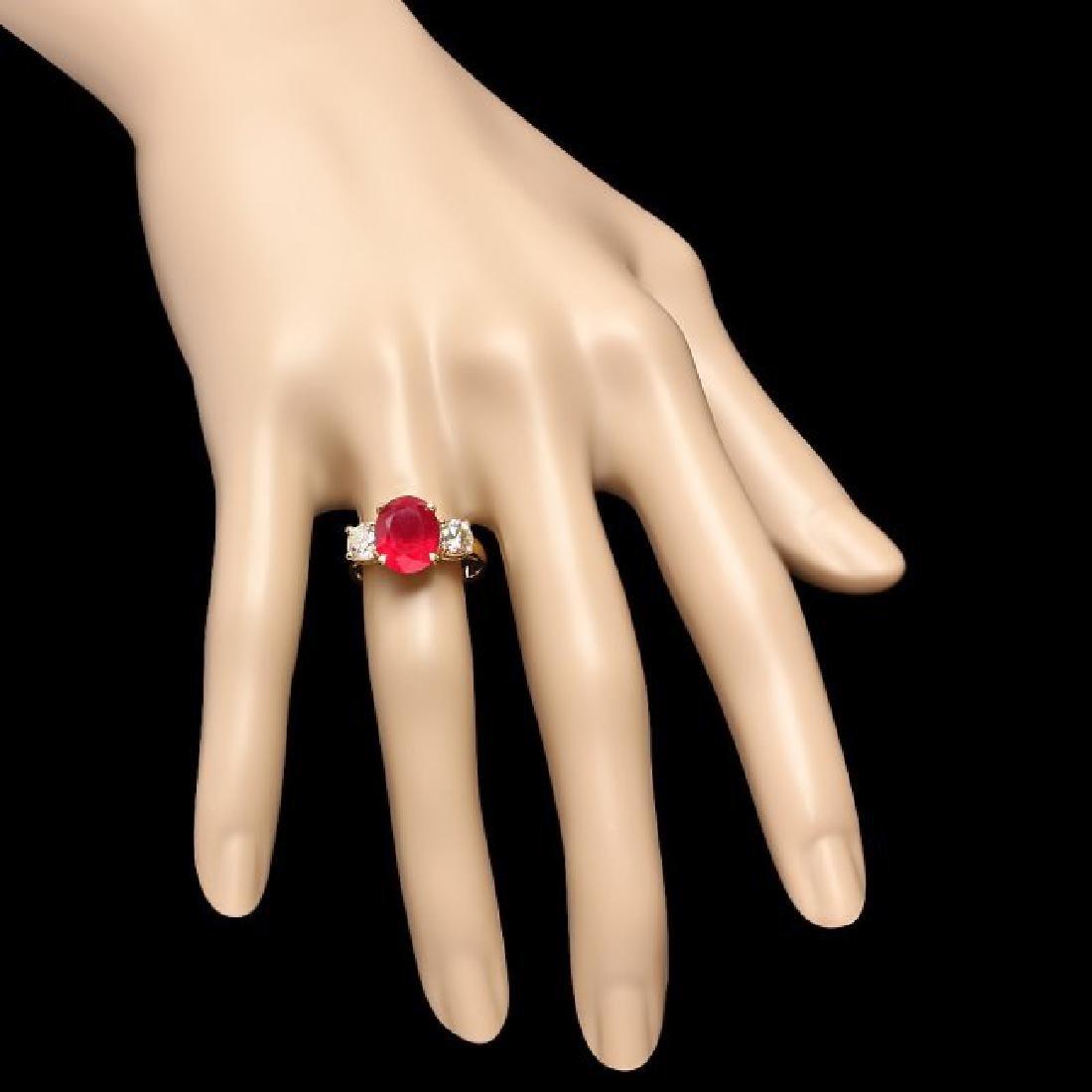 14k Yellow Gold 5.00ct Ruby 1.10ct Diamond Ring - 4