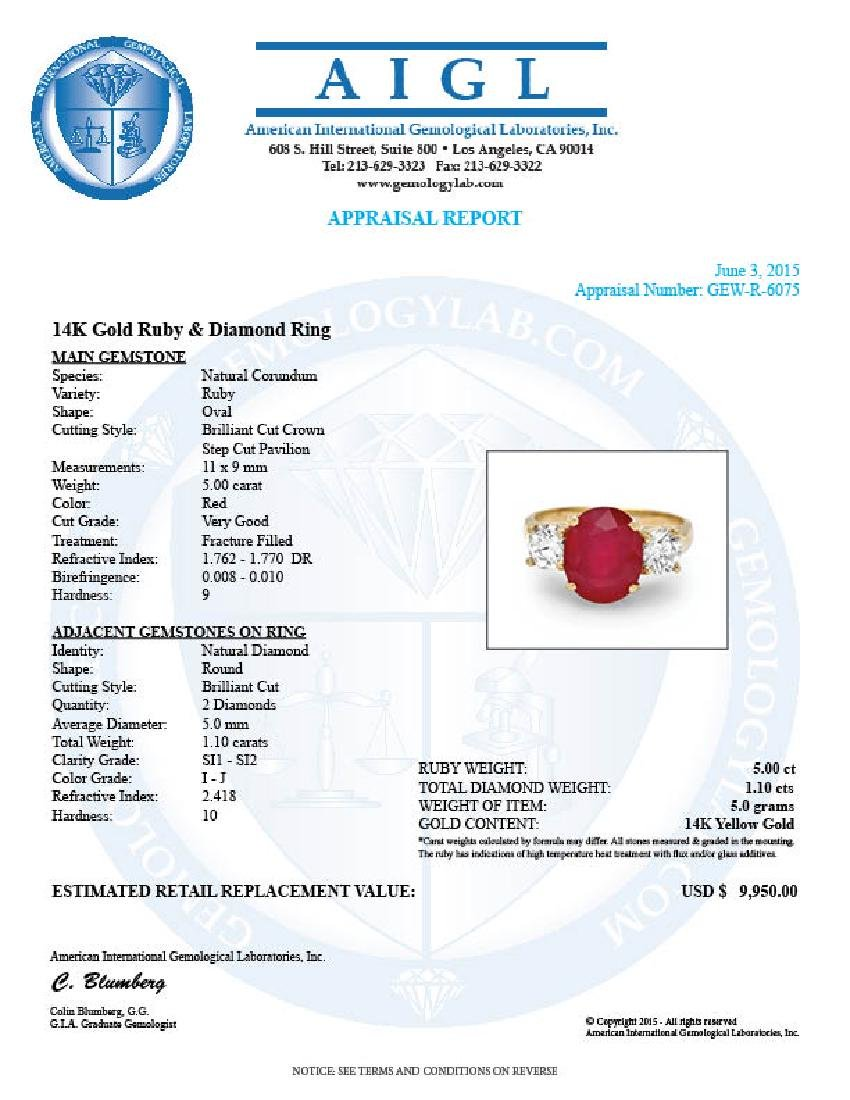 14k Yellow Gold 5.00ct Ruby 1.10ct Diamond Ring - 5