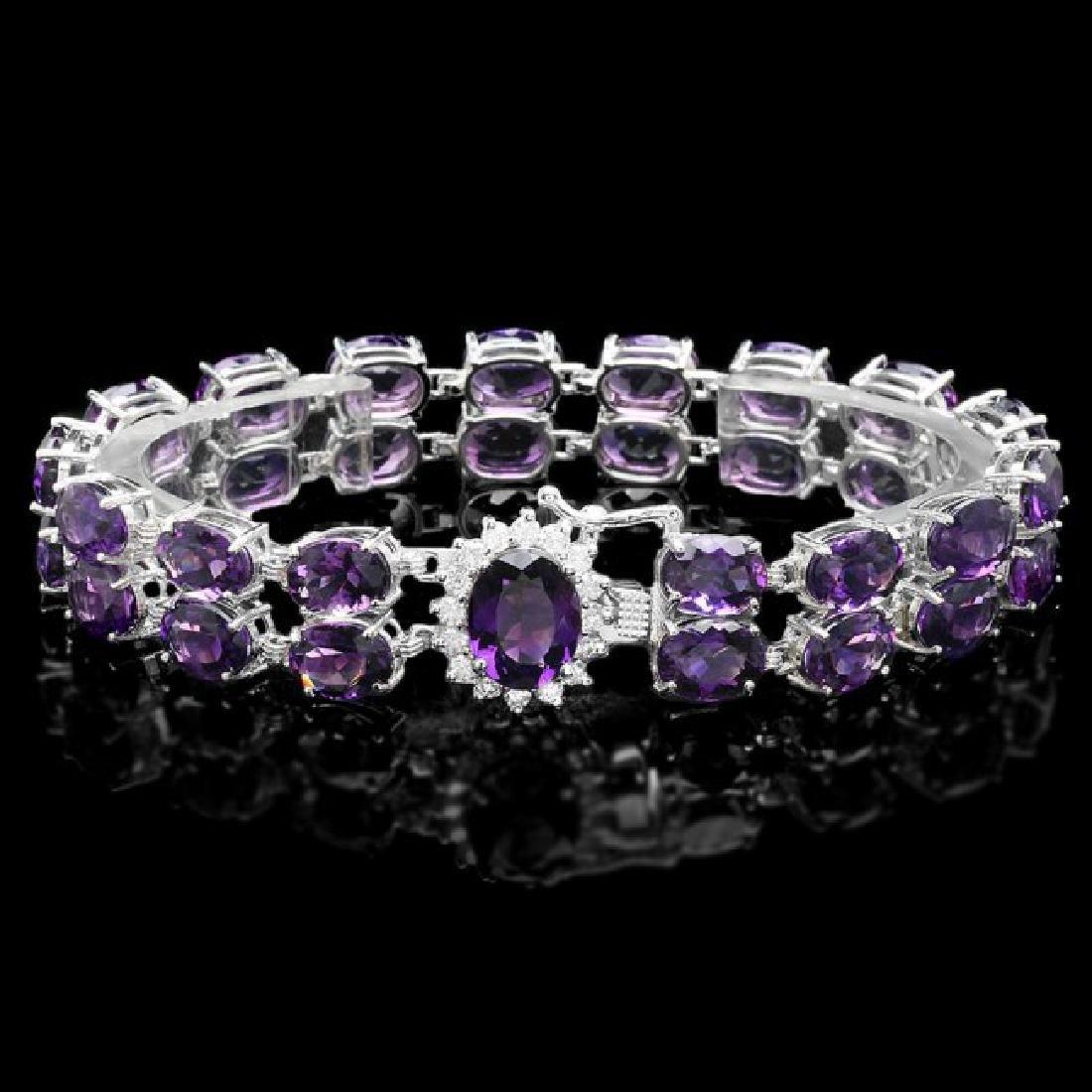 14k Gold 43ct Amethyst 0.60ct Diamond Bracelet - 2