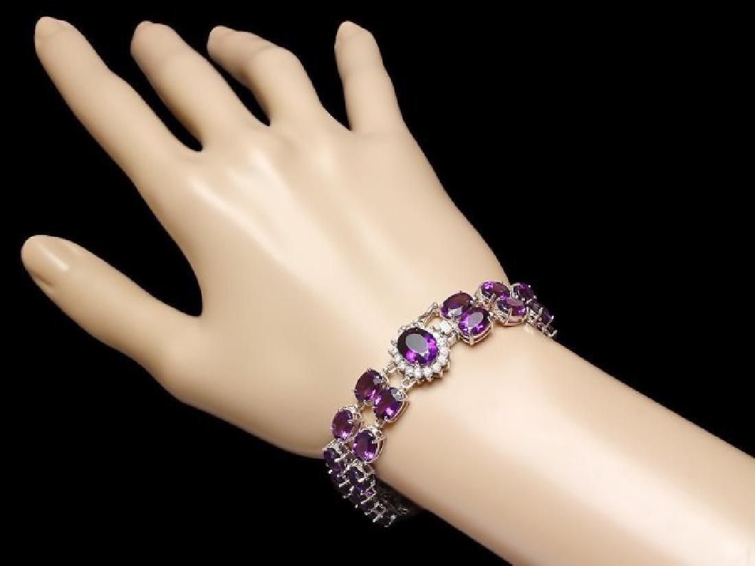 14k Gold 43ct Amethyst 0.60ct Diamond Bracelet - 3